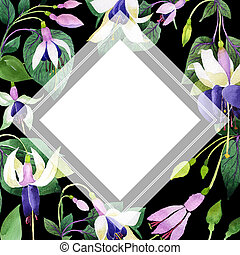 Wildflower fuchsia flower frame in a watercolor style.
