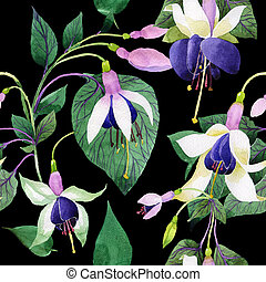 Wildflower fuchsia flower pattern in a watercolor style.