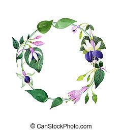 Wildflower fuchsia flower wreath in a watercolor style.