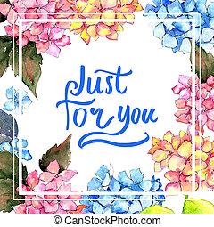 wildflower, hortensie, blume, rahmen, in, a, aquarell, style.