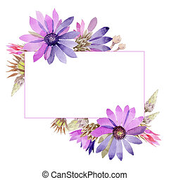 Wildflower immortelle flower frame in a watercolor style.