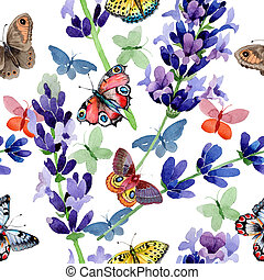 Wildflower lavender flower pattern in a watercolor style.