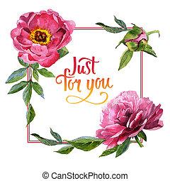 Wildflower peony flower frame in a watercolor style isolated. Полное название растения: пион. Акварельный дикий цветок для фона, текстуры, рисунка обертки, рамки или бордюра.
