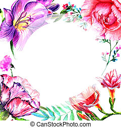 Wildflower peony flower frame in a watercolor style isolated.