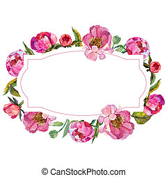 Wildflower peony flower frame in a watercolor style.