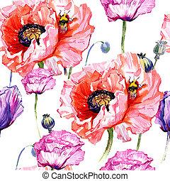 Wildflower poppies flower pattern in a watercolor style. Полное название растения: маки. Акварельный дикий цветок для фона, текстуры, рисунка обертки, рамки или бордюра.