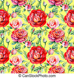 Wildflower rosa flower pattern in a watercolor style. Full...