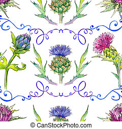 Wildflower thistle flower pattern in a watercolor style....