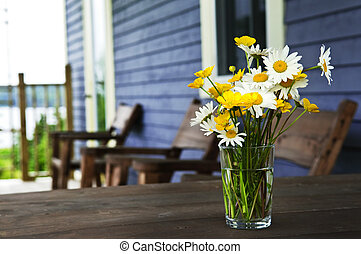 Wildflowers bouquet at cottage - Bouquet of wildflowers on a...