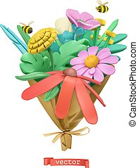 Wildflowers bouquet. Plasticine art. 3d vector icon