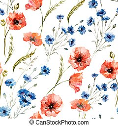 Wildflowers - Beautiful watercolor vector pattern with...