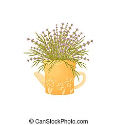 Wildflowers in a yellow teapot. Vector illustration on white background.