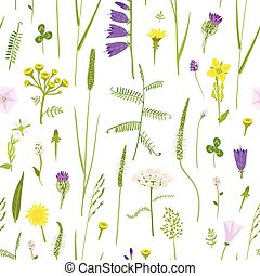 Wildflowers in the naive style, seamless vector pattern,...