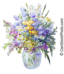 Wildflowers in vase isolated on white, oil painting on canvas