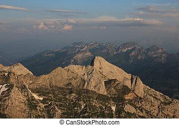Wildhuser Schofberg and Drei Schwestern, mountains seen from Mount Santis.