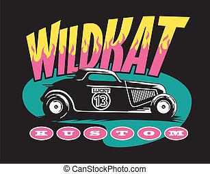 Vector illustration of an old-school hot rod with cool retro graphics. Wild, baby!