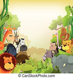 Wildlife African Animals Background - Illustration of cute...