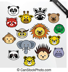 A set of cute wildlife animal faces cartoon.
