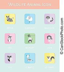 Wildlife animal flat icon set