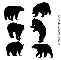 Wildlife Animal,Bear Silhouettes