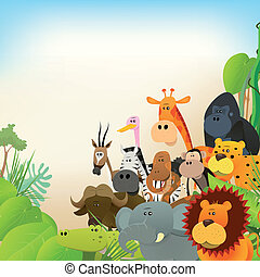Wildlife Animals Background - Illustration of cute various...