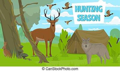 Wildlife animals in forest, hunting season