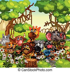 Wildlife Animals in Forest With Trees and White Ivy Flowers Cartoon