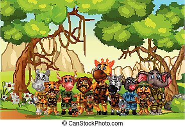 Wildlife Animals in Grass Field With Trees Cartoon Vector Illustration