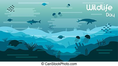 Wildlife Day card of sea animals in coral reef