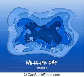 Wildlife Day cutout card of sea animals underwater