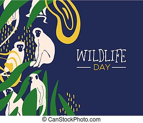 Wildlife Day jungle card with monkeys