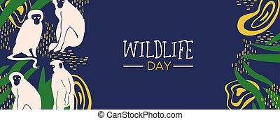 Wildlife Day jungle web banner with monkeys