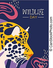 Wildlife day poster of leopard in jungle