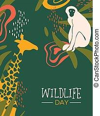 Wildlife Day safari card with wild animals