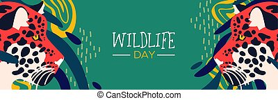 Wildlife day web banner of leopard in jungle
