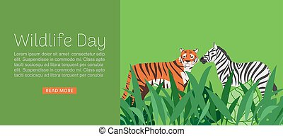Wildlife day web banner vector illustration. Cartoon wild tiger and zebra with abstract african jungle decoration for animal care and conservation.