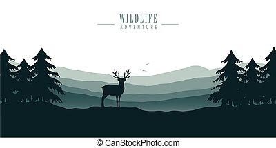 wildlife deer in forest with mountain view blue nature landscape