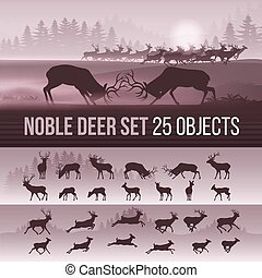 Deer Silhouettes - Wildlife Foggy Coniferous Forest...
