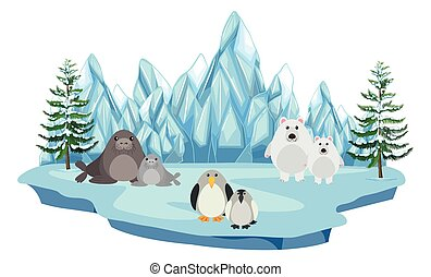 Wildlife in the arctic land illustration