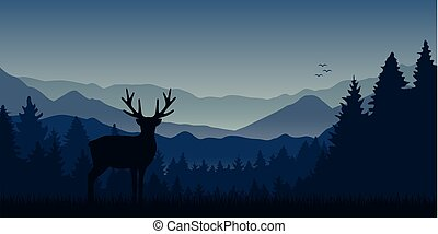 wildlife moose blue mountain and forest landscape