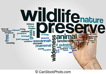 Wildlife preserve word cloud concept on grey background