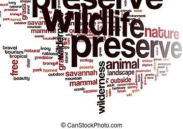 Wildlife preserve word cloud concept