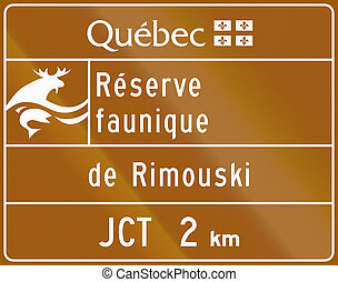 Wildlife Reserve in Canada - Guide and information road sign...