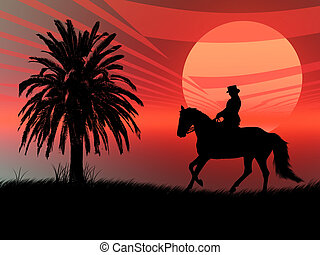Wildlife - Wild horse silhouette in a red sunset