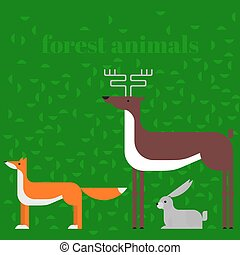 Wildlife zoo collection of cute cartoon animals. Forest fauna of the world icon set isolated. Wild characters. Fox, deer and rabbit.