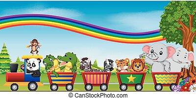 wildtiere, auf, der, zug, mit, regenbogen, abbildung