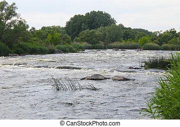 wildwasserrafting, auf, südlich, wanze, fluß, ukraine