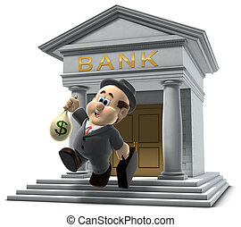 """3D illustration of """"Wilfred"""" emerging from a bank with a sack of money isolated on a white background"""