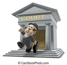 """3D illustration of """"Wilfred"""" emerging from a court house jumping in the air on white background"""
