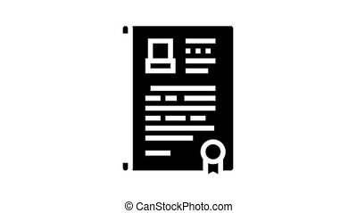 will death certificate animated glyph icon. will death certificate sign. isolated on white background